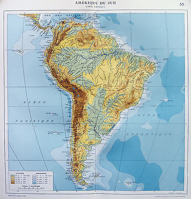 Map of South America Physical French Large 1925 Original Antique
