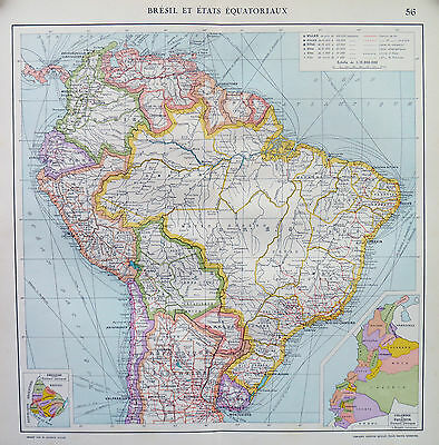 Map of brazil French Large 1925 Original Antique