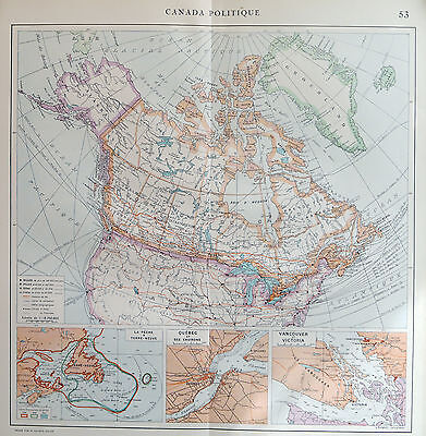 Map of Canada Political French Large 1925 Original Antique
