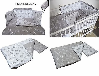 Grey Teddy Bear Baby Bedding Set -Cot -Cot Bed -Bumper+Duvet Cover Pillow Case