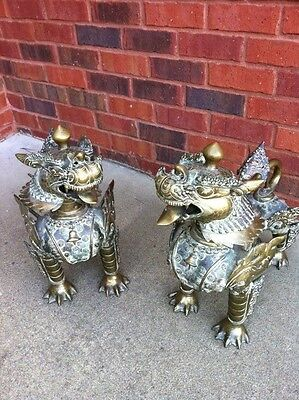 Foo Lions (Foo Dogs) Solid Brass Antique Circa 1950's.  Sold as pair.