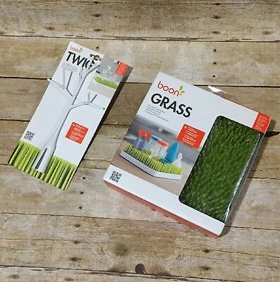 Boon Green Grass Countertop Bottle Drying Rack And Twig Accessory New