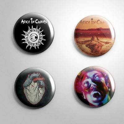 "4 ALICE IN CHAINS -  Pinbacks Badges Buttons 1"" 25mm"