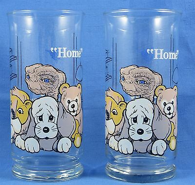 "VTG E.T. Extra-Terrestrial Glass Tumblers LE Pizza Hut 1982 ""HOME"" Set of 2"