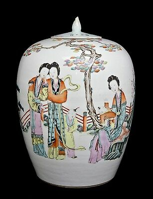 Chinese Porcelain Vase with Beauties Marked - Late Qing Dynasty