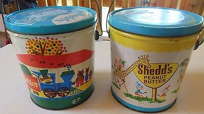 Vintage VTG Shedd's 5 lb. Peanut Butter Pail Bucket Tin - Set Of Two Different