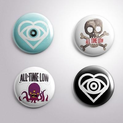 "4 ALL TIME LOW - Pinbacks Badges Buttons 1"" 25mm"