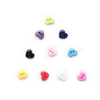100pcs Multicolor 2 hole Heart Resin buttons Sewing Scrapbooking Decorative 6mm