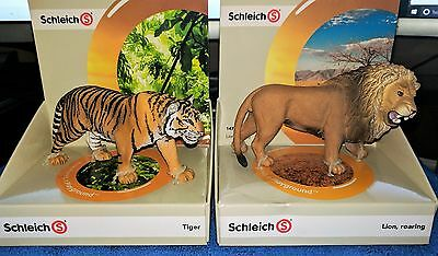Lot of Lot of 2 pcs of Schleich Animal figure - Schleich Lion Roaring  and Tiger