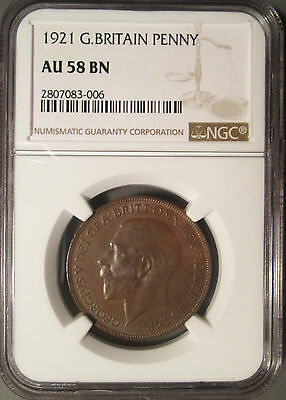 1921 Great Britain Penny, NGC AU 58 BN