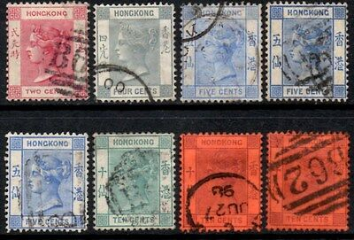 Hong Kong 1882-96 Queen Victoria Wmk Crown CA Selection  Used