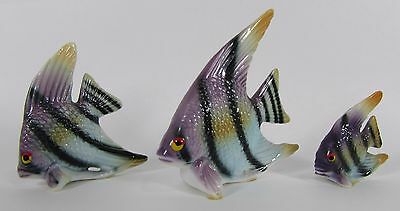vintage miniature Bone China Angel Fish Figurines Family set of 3