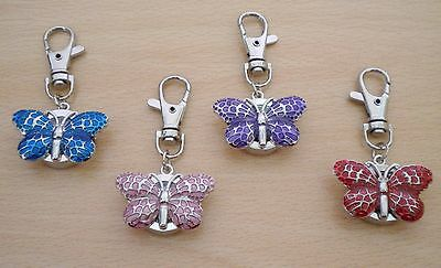 New Ladies/girls/nurses Butterfly Keyring/key Chain Pendant Pocket Fob Watch