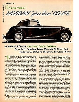 1958 Morgan Plus Four Coupe ~ Original 6-Page Road Test / Article / Ad