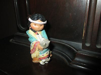 Enesco FRIENDS OF THE FEATHER figurine Native American girl DANCES WITH WOLF 94'