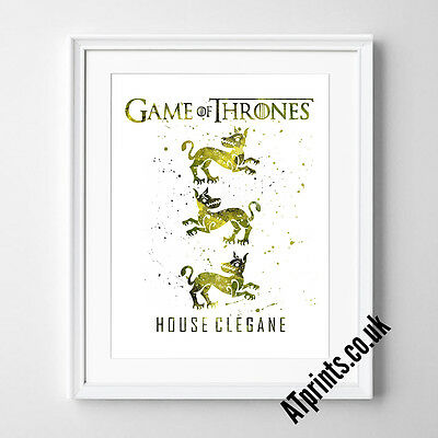 GAME OF THRONES Print Poster Watercolour Framed Canvas Wall Art House Clegane