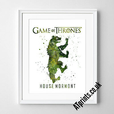 GAME OF THRONES Print Poster Watercolour Framed Canvas Wall Art House Mormont