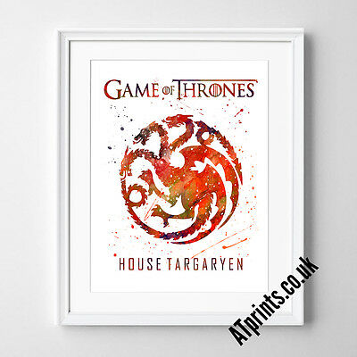 GAME OF THRONES Print Poster Watercolour Framed Canvas Wall Art House TARGARYEN