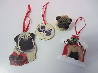 Set of 4 fawn Pug ornaments