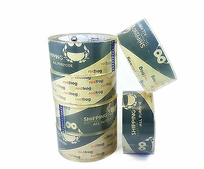 """Red Frog 12 Rolls 2.5 mil 1.88"""" x (60 / 110) yds, Clear Packaging Packing Tape"""