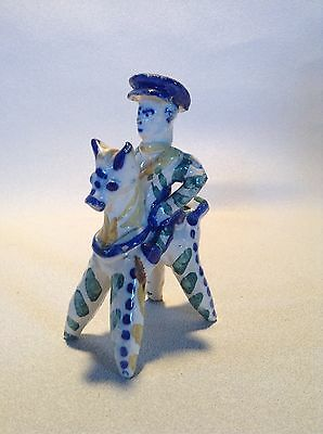 Early 1800's Antique Russian Toy Whistle Made of Ceramic Pottery Clay Tin Glaze