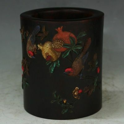 China Exquisite Hand-carved pomegranate bird carved Wood mosaic shell Pen holder