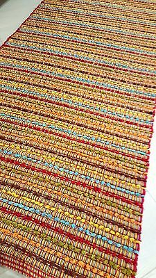 FLOOR RUG RED Multi purpose DHURRIE Hand Made Flatweave Runner 70x180
