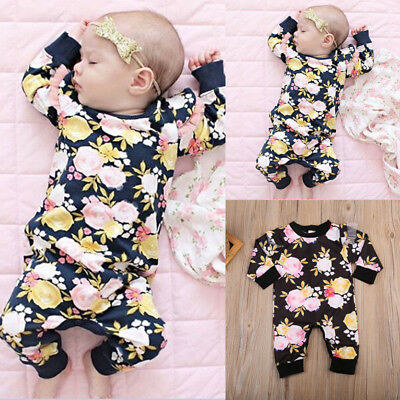Newborn Kids Baby Girls Infant Cotton Floral Long Sleeve Romper Bodysuit Outfits