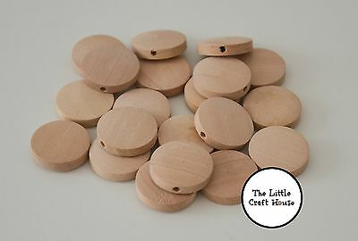 20 x 20mm Round Wood Flat Bead Natural Unfinished Wooden Beads Coin Teething DIY