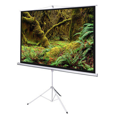 """100"""" Projector Screen 4:3 Projection Pull Up Matte White Portable Tripod Stand"""