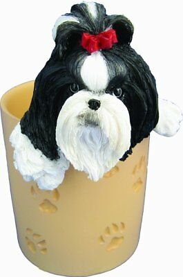 Shih Tzu Pencil Cup Holder with Realistic Hand Painted Shih Tzu Face and Paws A