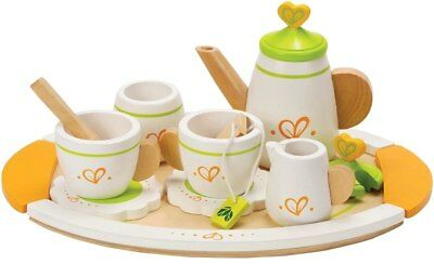 New Hape Wooden Tea Set for Two - 12 Pieces Childrens Toy
