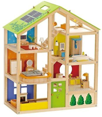 New Hape All Seasons Decked Out Dolls House with Furniture Childrens Toy