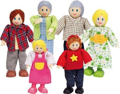 New Hape Dolls Caucasian Family - Set of 6 Childrens Toy