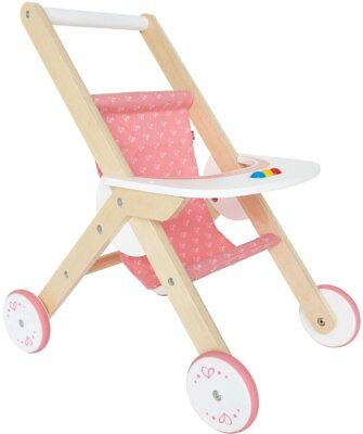 New Hape Wooden Baby Doll Pram Childrens Toy
