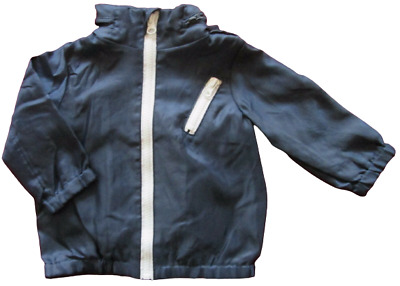 Baby Boys Coat Wind Spray Jacket Hooded Candy Stripes Navy Blue Size 0 1 2 NEW