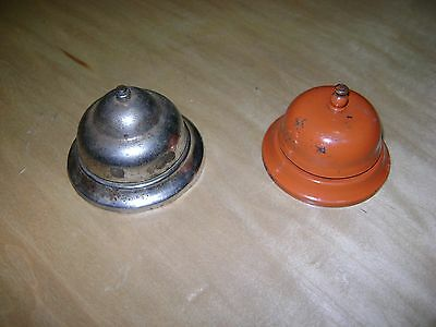 Lot Of 2 Vintage Hotel Counter Bell Bellhop Antique Metal Orange Chrome Plated