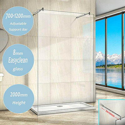New Wet ROOM Shower Enclosure Screen Panel 8mm NANO Glass Double Support Bar UC