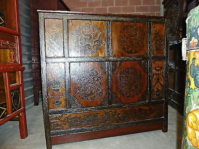 Large TIBETAN CABINET Painted Dragons Chest Circa mid 1800s 50x19x48