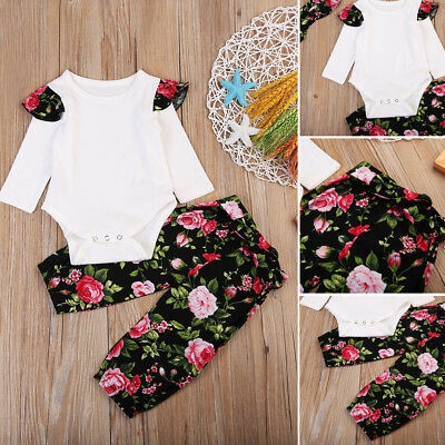 UK Stock Newborn Baby Girls Tops Romper Floral Pants 3Pcs Outfits Set Clothes