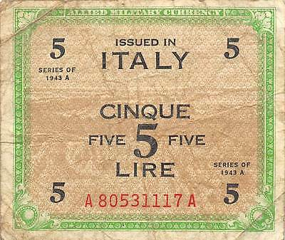 Italy  5 Lire  Series 1943 A  Block A-A  WWII issue  Circulated Banknote SD0717S