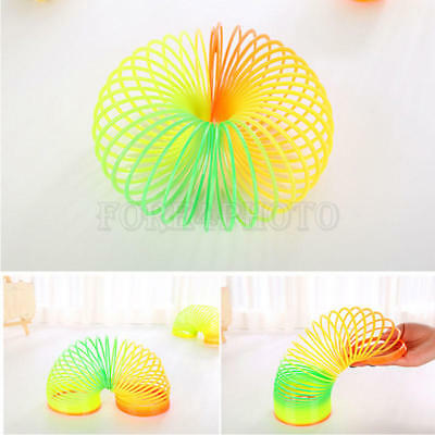 Plastic Spiral Slinkys Rainbow Neon Coloured Spring Party Bags Kids Toys Games