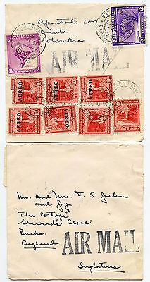COLOMBIA 1953 AIRMAIL MULTI FRANKING on SQUARE ENVELOPE to GERRARDS CROSS GB