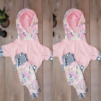 Newborn Toddler Baby Girls Clothes Floral Hoodie Tops Pants Leggings Outfits Set