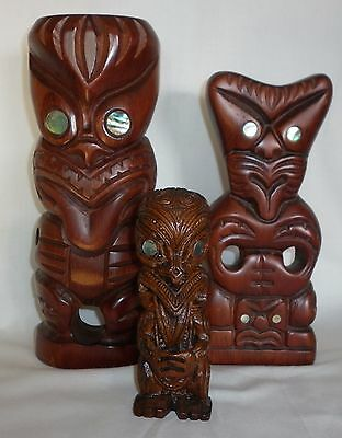 3 x Vintage New Zealand Tiki - Paua Eyes - Hand Carved Maori Tribal Teko