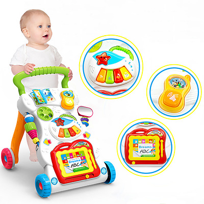 4in1 Baby Push Walker Learning Toddler Musical Activity Steps Play Toy Assistant