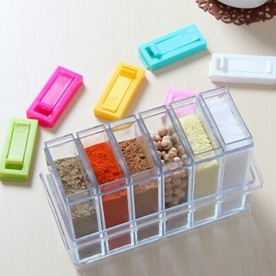 NEW 6in1 Spice Container Jar Condiment Dispenser Salt Seasoning Box Kitchen Tool