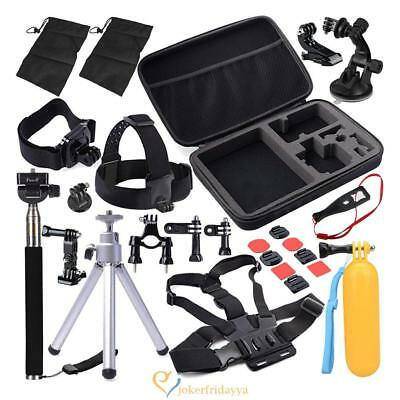 30 in 1 Camera Accessories Action Set Kit Pole Head Chest Mount Strap Case UK