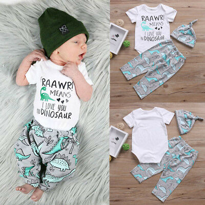 UK Stock Newborn Baby Boys Tops Romper Pants Leggings Hat Outfits Clothes 0-18M