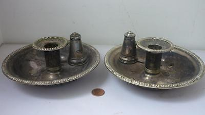 Pair Large Saucer Candle stick holder with snuffers Engraved Family Coat of arm